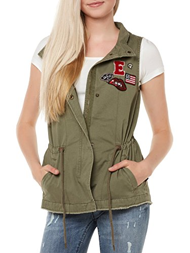 CHALECO PARCHES ONLY VERDE SALLY BADGE CANVAS WAISTCOAT OTW