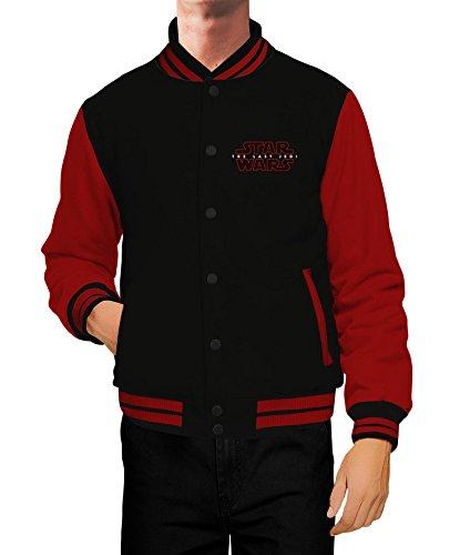 Mens Star Wars Last Jedi Varsity Letterman Jacket | Black with Red Sleeve, M