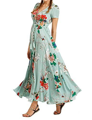 Teal Dress Homecoming (Bibowa Vneck Maxi Dresses for Women Long Maxi Dresses Homecoming Peasant Dress Teal L)
