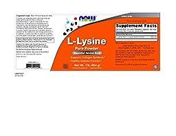 NOW Foods L-Lysine 100 % Pure Powder, 2 pk