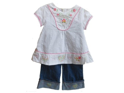 BT Kids Girls 2 Piece Eyelet Top and Embroidered Cuffed Jeans (4T, White/ Denim)
