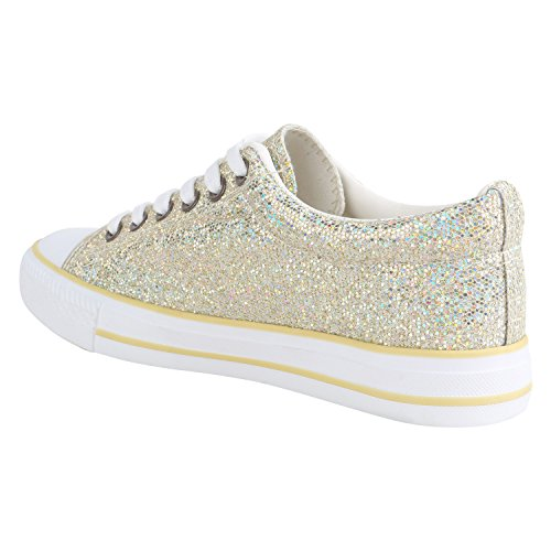 Damen Sneakers Sportschuhe Sneaker Low Denim Stoffschuhe Blumen Camouflage Flandell Gold Metallic