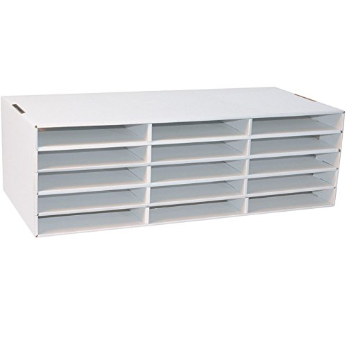 15 Compartment- Compartment Size 1.50'' x 10'' x 12.50'' - 8.5'' Height x 28.8'' Width x 13.5'' Depth White Construction Paper Storage (1 Sorter) -BOS-PAC001310