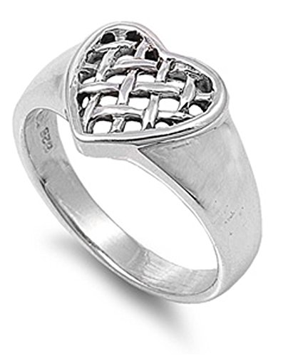 Silver Sterling Knot Mesh - Sterling Silver Women's Weave Mesh Knot Heart Ring (Sizes 5-10) (Ring Size 10)