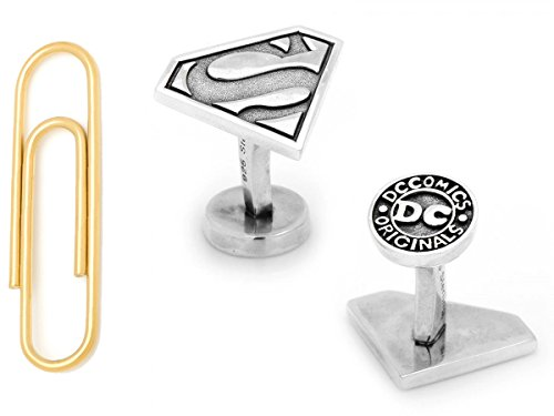 Sterling Superman Cufflinks with Gold Stainless Steel Paper Clip Money Clip