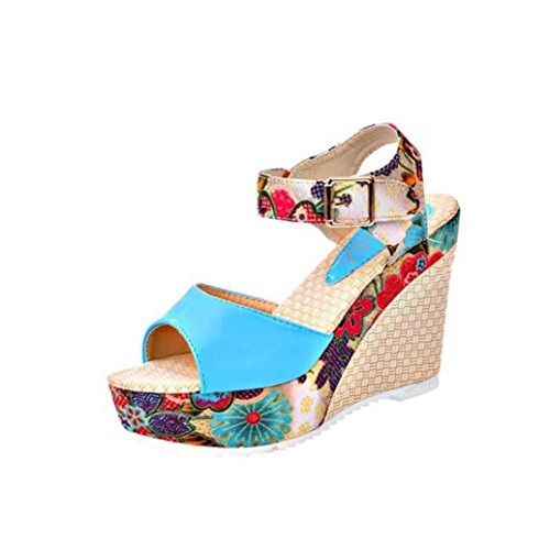 Chaussures Transer® Sandales formes Confortables Dames Occasionnels Bleu Hautes Compensé Plates Femmes De Coins Talon Pantoufles vT1dq1