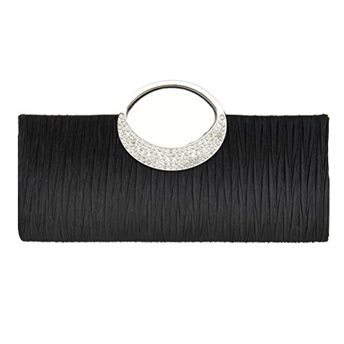 Fashion Road Womens Luxury Evening Wedding Party Purse Clutch Rhinestone Satin Pleated Handbag Wallet Black (Clutch Party Purse)