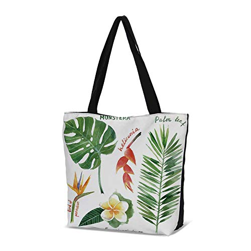 Plant Stylish Canvas Tote Bag,Bird of Paradise Palm Leaf and Assorted Exotic Fl