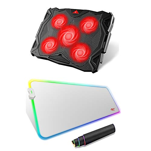 havit 5 Fans Laptop Cooling Pad for 14-17 Inch Laptop & RGB Gaming Mouse Pad Combo