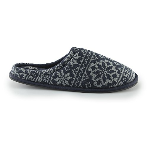 House of Slippers Nordic Mens Knitted Mule Slippers Navy Medium