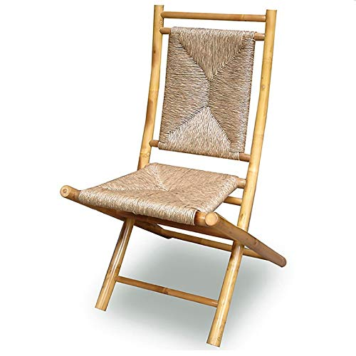 Heather Ann Creations Bamboo Folding Chairs with Triangle Weave, Pack of 2, -