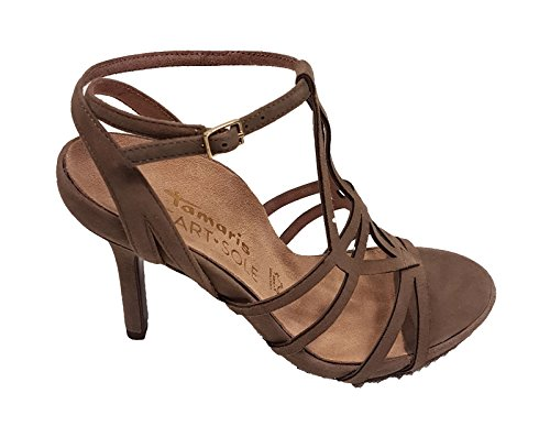 Tamaris Zapatos de Vestir de Piel Para Mujer Beige Pardo