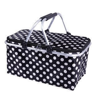 XJF Insulated Baske Collapsible Metro Cooler Market Basket / Tote (Black and white)