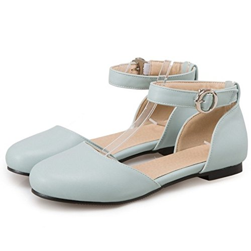 COOLCEPT Mujer Moda Correa de Tobillo Correas Sandalias Plano Cerrado Zapatos Tamano Azul