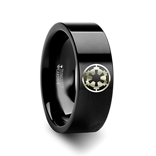 Thorsten Sith Emblem Emblem from Star Wars Wedding Band Ring Black Tungsten Inside Engraved 8mm Wedding Band Ring Custom Personalized Inside Engraved from Roy Rose Jewelry
