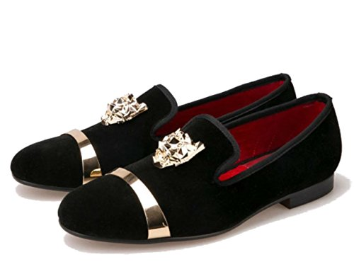 With Flat Lion Men Gold and Loafers velvet Buckle FERUCCI Gold slippers Black qwxxFYXP