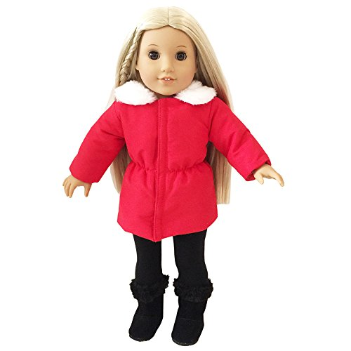 Dress Along Dolly Winter Doll Clothes American Girl Inspired Bundled Up Outfit - Includes Jacket, Skirt, leggings, and Boots)