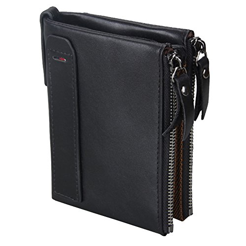 Leather Double Billfold (iSuperb RFID Blocking Crazy Horse Genuine Leather Wallet Double Zipper Business Billfold Wallet with ID Window for Men Women 3.7x4.8x1.1inch (Black))