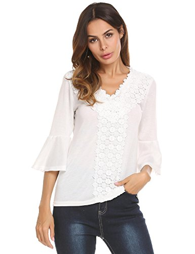 Concep Women's Flare Sleeve Solid Blouse Boho V Neck Crochet Lace Top Shirts (White M)