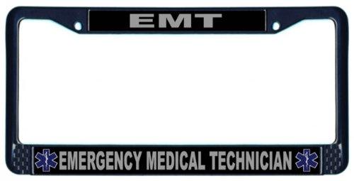 Rescuetees EMT Emerg Medical Tech License Plate Frame Black (Emt License Plate Frame compare prices)