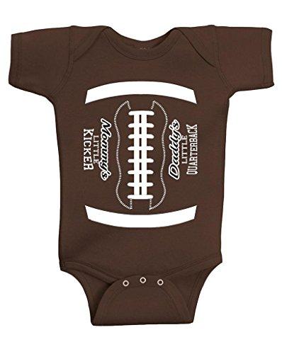 Gina Lou Daddy's Little Quarterback Onesie Baby Romper, Brown (Newborn)
