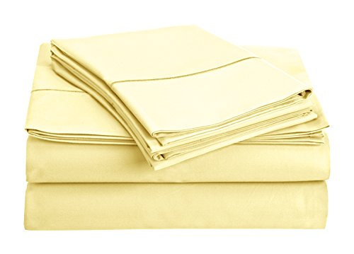 Chateau Home Collection 800-Thread-Count Egyptian Cotton Deep Pocket Sateen Weave Sheet Set (CALKING, Transparent Yellow)