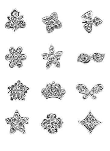 Rhinestone Buckle Mini Dress - ZAKI 12px Gold Silver Crystal Button Brooches Scarves Buckle Floriated Brooch Collar Pin Rhinestone Corsage Bouquet Kit (silver F (mini pin))