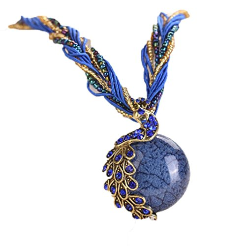 Napoo 1PC Womens Bohemian Rhinestone Peacock Gem Pendant Statement Necklace with Bandage (Dark Blue) -