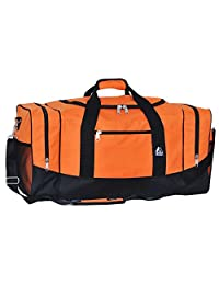 Everest 025-OG/BK Sporty Gear Bag-Large, Orange, One Size