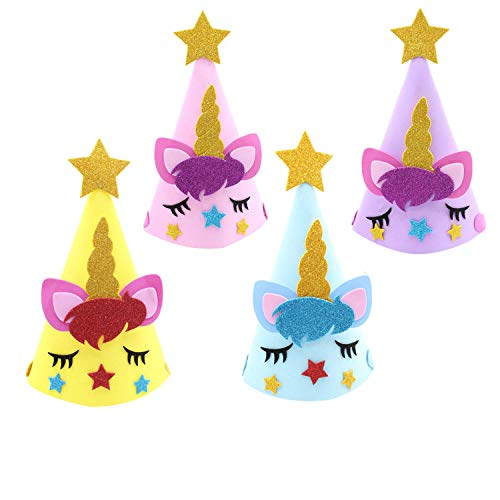 Party Hats Birthday Crown for Party Decoration Coming with Ropes Kids Happy Birthday Party Cone Unicorn Hats Multi-Colors baby ()