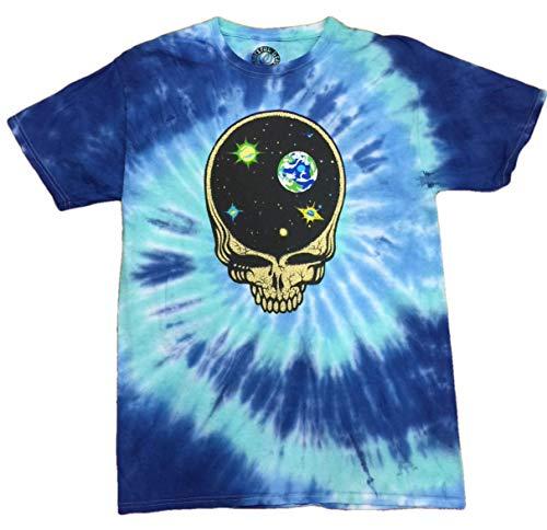 Legends of Rock Grateful Dead Skull Jerry Garcia Deadhead Tie Dye Men's Tee T Shirt, Blue , X-Large (46/48)