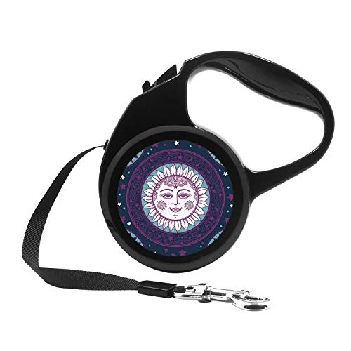(Retractable Dog Leash, 7ft Dog Walking Leash for Small Dogs up to 26lbs, One Button Break & Lock, Unique Design - Ethnic Sun face with Stars Medallion Ornament)