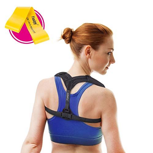Posture Corrector for Women Men - Comfortable Upper Back Brace for Kyphosis Thoracic Clavicle Shoulder Support, Pain Relief From Neck, Back & Shoulder - with Resistance Band (Chest Size: 33