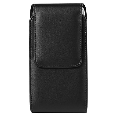 Black Vertical PU Leather Holster Case Pouch Bag w/Belt Clip Compatible for Samsung Galaxy S10+ S9+ S8+ / A20 A30 A50 M30 A6+ A7 A8+ / J4+ J6+ J8 / Nokia 3.2 / HTC U12 Life/OnePlus 6T Black Vertical Leather Case