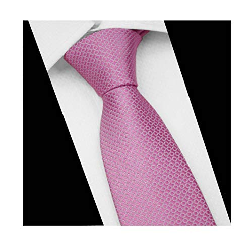 Men Classic Pink Circles Silk Ties Events Formal Wedding Neckties for Ideal Gift