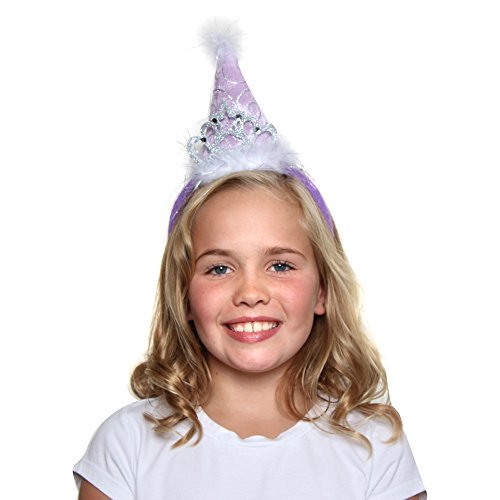 Girls Princess Tiara Cone Hat Headband, Lavender Lavender Princess Hat
