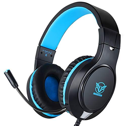 Gaming Headset for PS4 Xbox One, Audio Stereo Bass with Microphone, Lightweight Headphone Compatible for PS4, Xbox One, PC, Laptop, Tablet, Smartphone (Black&Blue)