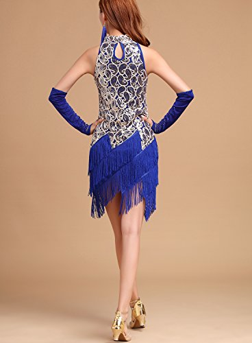 Tassel Paisley Dress Blue Gold 20s Girl Costume Flapper Roaring 1920s Royal Sequin whitewed 6qZzxXIww