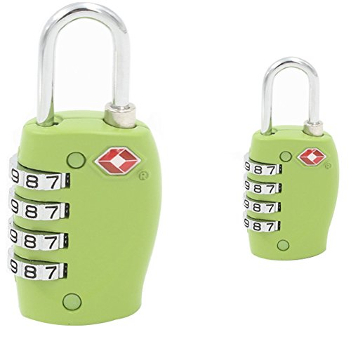A.B Crew 2 Pack Lumintrail TSA Approved All Metal International Travel Luggage 4 Digital Resettable Combination Lock for Travel Safety and Security(Green) by A.B Crew