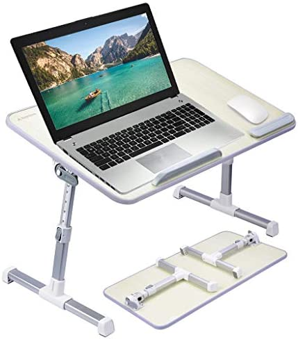 [Large Size] Neetto Adjustable Laptop Bed Table, Portable Standing Desk, Foldable Sofa Breakfast Tray, Notebook Stand Reading Holder for Couch Floor Kids – Honeydew