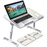 [Large Size] Avantree Adjustable Laptop Bed Table, Portable Standing Desk, Foldable Sofa Breakfast Tray, Notebook Stand Reading Holder for Couch Floor Kids - Honeydew