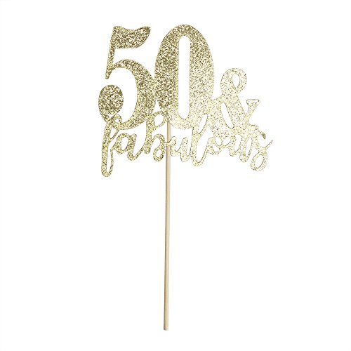 Happy Birthday Cake Topper 50th Birthday Cupcake Topper for Party Supply Decoration -50 & Fabulous Premium Quality