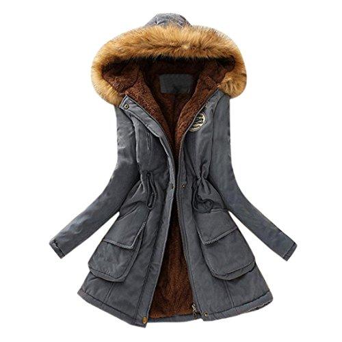 Bluestercool Femmes Longue Manteau Col de Fourrure Veste  Capuche Parka Outwear Coats pour Hiver Gris