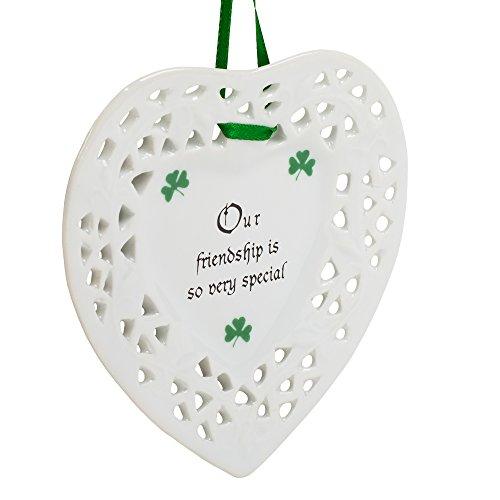 Friendship Special Shamrock Heart Shaped 4 Inch Porcelain Christmas Ornament ()