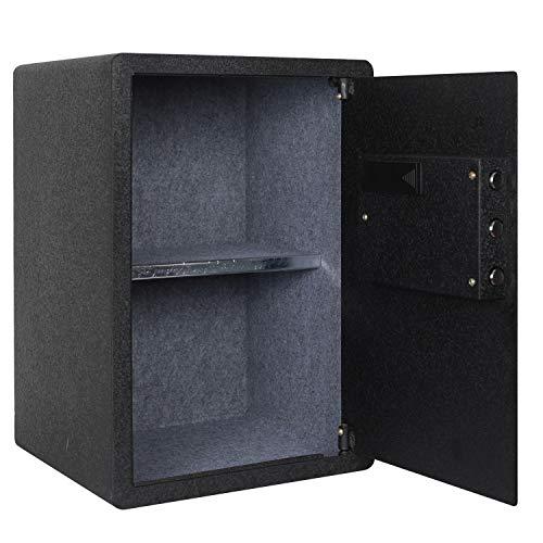 Fingerprint Security Safe Box Fireproof Waterproof Lock Box Cabinets Gun Pistol Cash Strongbox Solid Steel Safety Jewelry Storage Money Boxes w/Deadbolt Lock&2 Emergency Keys&4 Battery Wall-Anchoring by Reliancer (Image #3)