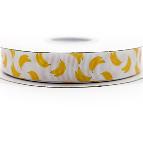 Banana Grosgrain Ribbon (Midi Ribbon Fruit Banana Design Pattern Print Deco Grosgrain Ribbon-7/8
