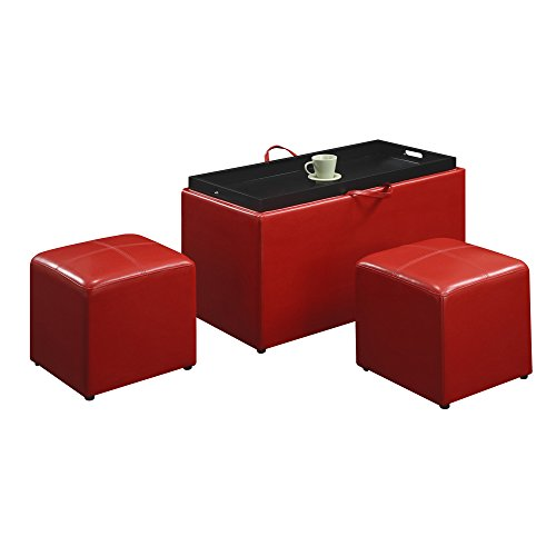 Storage Ottoman Set - Faux Leather Upholstered 3 Piece - Build In Hardwood Tray - 1 Storage Bench and 2 Square Cube Ottomans (Red)