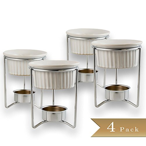 Set of 4 - White Ceramic Fondue or Butter Warmer Sets with Chrome Plated Steel Stands