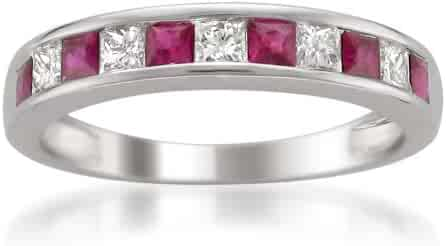 14k White Gold Princess-cut Diamond and Red Ruby Wedding Band Ring (5/8 cttw, H-I, I1-I2)