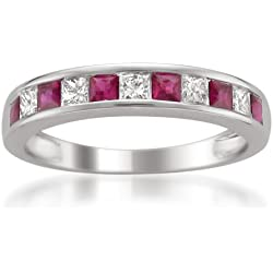 14k White Gold Princess-cut Diamond and Red Ruby Wedding Band Ring (1 cttw, H-I, I1-I2)